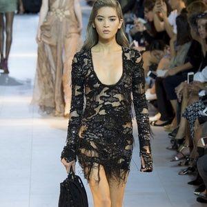 Roberto Cavalli 2016 Mini Fringed Silk dress